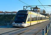 Modern tram in  Porto,Portugal. — Stock Photo