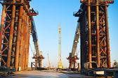Frozen construction site, Ukraine — Stock Photo