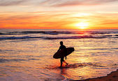 Surfing at sunset, Portugal — Stock Photo