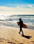 Surfing man silhouette — Stock Photo