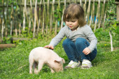 Little piglet  and girl — Stock Photo