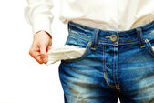 Businessman with empty pockets — Stock Photo