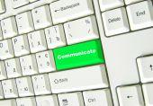 Green button  communicate — Stock Photo
