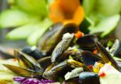 Salad mussels and vegetables — Stock Photo