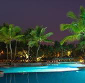 Swimming pool in night illumination — Stock Photo