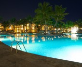 Swimming pool in night — Stock Photo