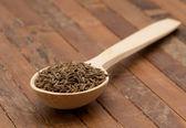 Cumin seeds in  spoon — Stock Photo