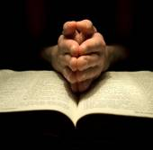 Mans hands and Bible — Stock Photo