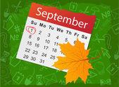 Calendar list with autumn leaf — Stock Vector