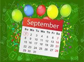 Calendar list with balloons — Stock Vector