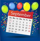 Calendar list with color balloons — Stock Vector