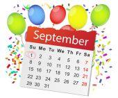 Calendar and color balloons — Stock Vector