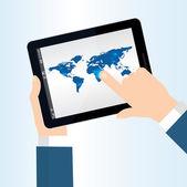 Ręką dotykając ekranu — Wektor stockowy
