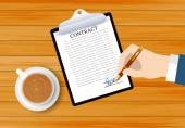 Sign a contract on table — Stock Vector