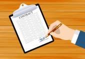 Подписать контракт на столе — Cтоковый вектор