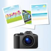 Abstract camera and photos — Stock Vector