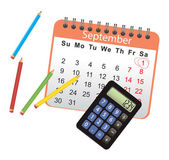 Calendar list with black calculator — Stock Vector
