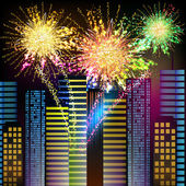 Fireworks - Night City — Stock Vector