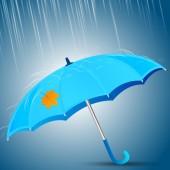 Blue unbrella in the rain — Stock Vector