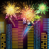 Fireworks - Night City — Stock Vector