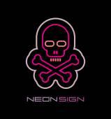 Skull and Crossbones neon sign — Stock Vector