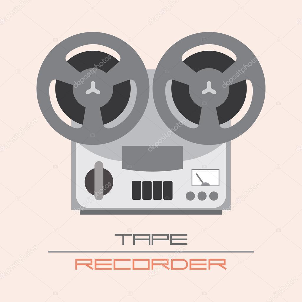 旧的老式磁带录音机矢量图