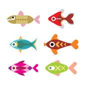Aquarium fish vector icon set — Stock Vector