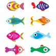 Exotic Fish icons — Vettoriale Stock  #64161007