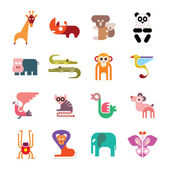 Zoo Animal Icons — Vector de stock