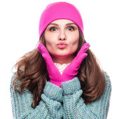 Woman  wearing woolen accessories — Photo