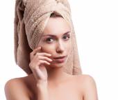 Spa skin care beauty woman wearing hair towel after beauty treatment. Beautiful multiracial young woman with perfect skin isolated on white background. — Stockfoto
