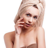 Spa skin care beauty woman wearing hair towel after beauty treat — Stockfoto