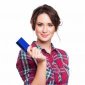 Fashion, shopping, banking and payment concept - smiling elegant — Stock Photo