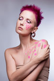 Color face and body art woman close up portrait — Stock Photo