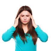 Woman with headache, migraine, stress, insomnia, hangover — Stock Photo