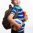 Happy schoolboy with backpack, ball and books isolated on white background — Stock Photo #55298957