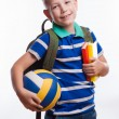 Happy schoolboy with backpack, ball and books isolated on white background — Stock Photo #55298967