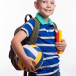 Happy schoolboy with backpack, ball and books isolated on white background — Stock Photo #55298991
