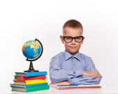 Cheerful Schoolboy ready to answer question isolated on a white background — Stock Photo