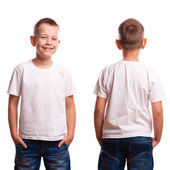 White t-shirt on a young man isolated, front and back — Stock Photo