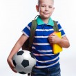 Happy schoolboy with backpack, ball and books isolated on white background — Stock Photo #55957215