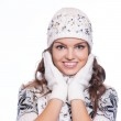 Beautiful woman in warm clothing closeup portrait — Stock Photo #57577549