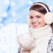 Beautiful woman in warm clothing closeup portrait — Stock Photo #57578273