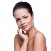 Beautiful Young Woman Touching Her Face.Fresh Healthy Skin.Isolated on White — Stock Photo