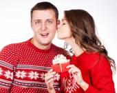 Happy christmas couple. Isolated over white background. — Stock Photo