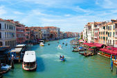 VENICE, ITALY - August 30, 2014:Beautiful view of famous Grand Canal in Venice, Italy — Stock Photo