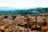 Florens, Italien. Stadsbild med tegeltak och Palazzo Vecchio i fjärran — Stockfoto