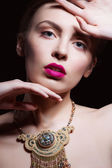 Sexy Beauty Girl with Pink Lips and Nails. Provocative Make up. Luxury Woman with Blue Eyes. Fashion Brunette Portrait. Gorgeous Woman Face. — Stock Photo