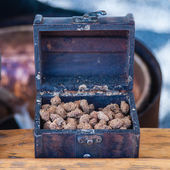 Scandinavian baked breaded almond nuts with cinnamon, garlic, pe — Stock Photo