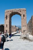 Pisa, Italy - August 27, 2014:Ancient Roman city of Pompeii, which was destroyed and buried by — Stock Photo
